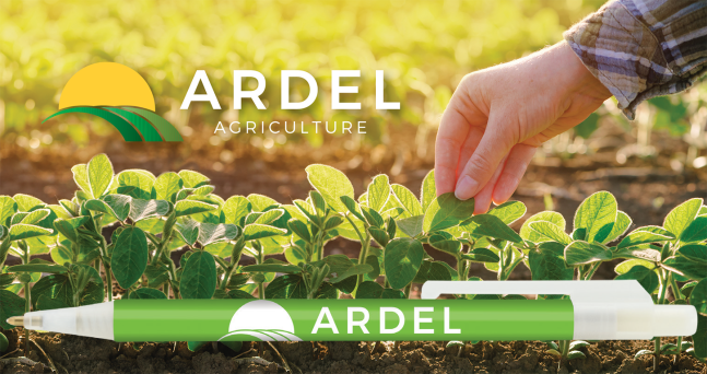 Green Plastic Promo Ballpoint Pen Branded for Ardel Agriculture